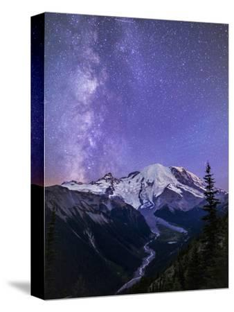 Washington, White River Valley Looking Toward Mt. Rainier on a Starlit Night with the Milky Way-Gary Luhm-Stretched Canvas Print