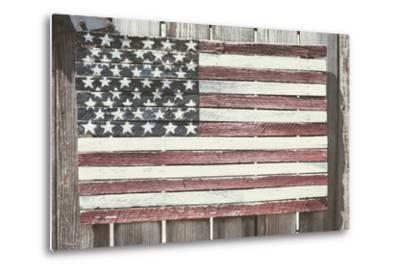 Worn Wooden American Flag, Fire Island, New York-Julien McRoberts-Metal Print