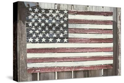 Worn Wooden American Flag, Fire Island, New York-Julien McRoberts-Stretched Canvas Print