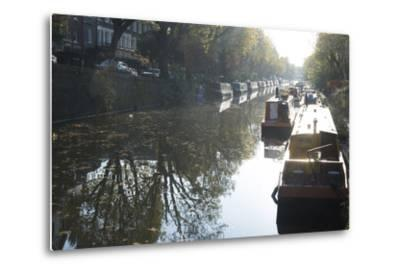 Canal Boats on the Regent's Canal, Little Venice, London, England, United Kingdom, Europe-Ethel Davies-Metal Print
