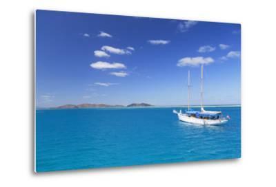 Yacht in Lagoon with Malolo Island, Mamanuca Islands, Fiji, South Pacific, Pacific-Ian Trower-Metal Print
