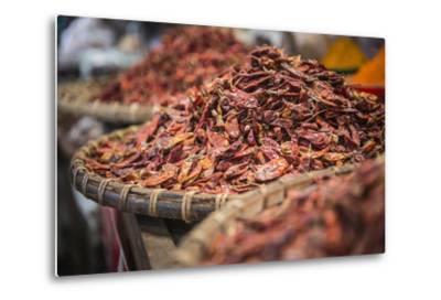 Dried Red Chillies for Sale at Pyin Oo Lwin (Pyin U Lwin) Market, Myanmar (Burma), Asia-Matthew Williams-Ellis-Metal Print