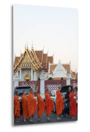 Monks Collecting Morning Alms, the Marble Temple (Wat Benchamabophit), Bangkok, Thailand-Christian Kober-Metal Print