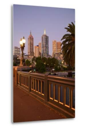City Skyline from Princes Bridge at Dusk, Melbourne, Victoria, Australia, Pacific-Frank Fell-Metal Print