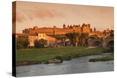 La Cite, Medieval Fortress City, Bridge over River Aude, Carcassonne, Languedoc-Roussillon, France-Markus Lange-Stretched Canvas Print