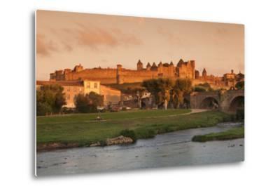 La Cite, Medieval Fortress City, Bridge over River Aude, Carcassonne, Languedoc-Roussillon, France-Markus Lange-Metal Print