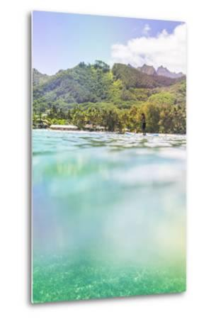 Paddleboarding in Muri Lagoon with Rarotonga in the Background, Cook Islands, Pacific-Matthew Williams-Ellis-Metal Print