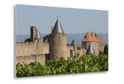 The Medieval Walled Town of Carcassonne, Languedoc-Roussillon, France, Europe-Martin Child-Metal Print