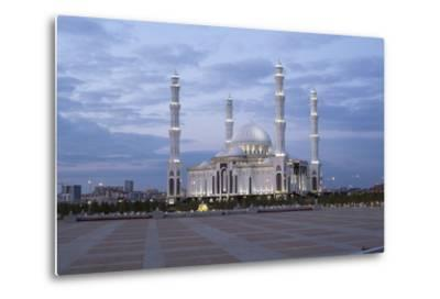 Hazrat Sultan Mosque, the Largest in Central Asia, at Dusk, Astana, Kazakhstan, Central Asia-Gavin Hellier-Metal Print