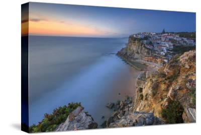 The Soft Colors of Twilight Frame the Ocean and the Village of Azenhas Do Mar, Sintra, Portugal-Roberto Moiola-Stretched Canvas Print