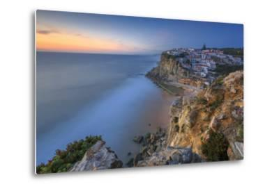 The Soft Colors of Twilight Frame the Ocean and the Village of Azenhas Do Mar, Sintra, Portugal-Roberto Moiola-Metal Print