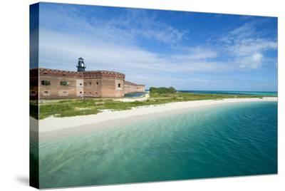 Turquoise Waters and White Sand Beach in Front of Fort Jefferson, Florida Keys, Florida-Michael Runkel-Stretched Canvas Print