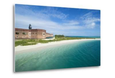 Turquoise Waters and White Sand Beach in Front of Fort Jefferson, Florida Keys, Florida-Michael Runkel-Metal Print