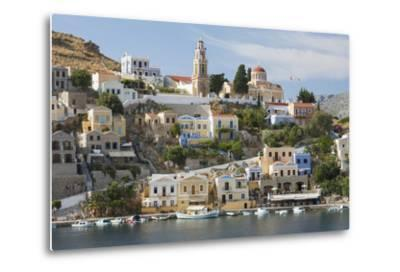 View over Harbour to Colourful Houses and Church, Dodecanese Islands-Ruth Tomlinson-Metal Print