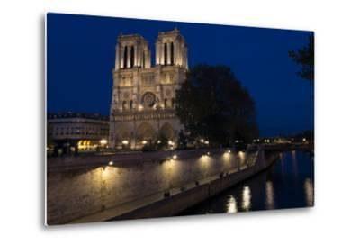 Notre Dame Cathedral and River Seine at Night, Paris, France, Europe-Peter Barritt-Metal Print