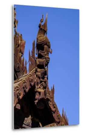 Village of Taung Be, Nat Taung Wood Monastery, Dated 13th Century, Bagan, Myanmar (Burma), Asia-Nathalie Cuvelier-Metal Print