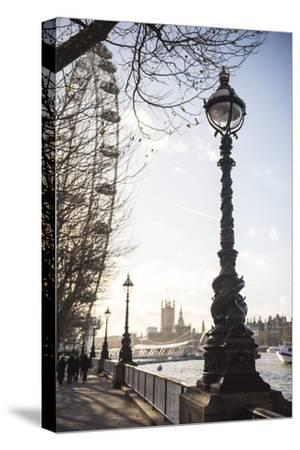 Dolphin Lamp Post, South Bank, London, England, United Kingdom, Europe-Matthew Williams-Ellis-Stretched Canvas Print