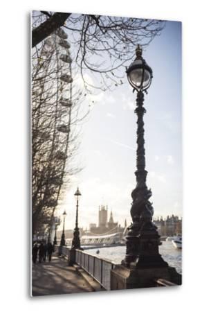 Dolphin Lamp Post, South Bank, London, England, United Kingdom, Europe-Matthew Williams-Ellis-Metal Print
