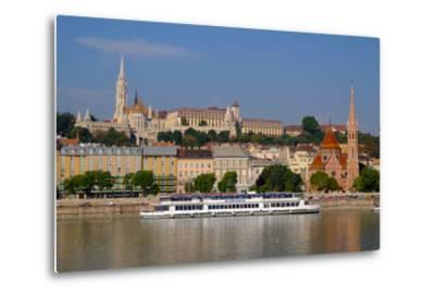 The Capuchin Church and in Foreground Matthias Church and Fishermen's Bastion, Hungary-Carlo Morucchio-Metal Print