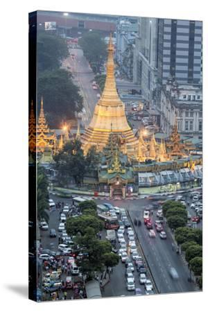The Sule Paya Pagoda in Rushing Traffic, Downtown Yangon, Myanmar (Burma), Southeast Asia-Alex Robinson-Stretched Canvas Print