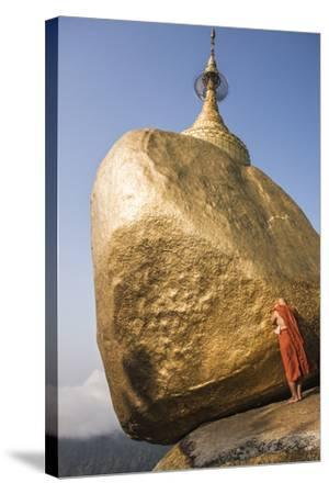 Buddhist Monk Praying at Golden Rock (Kyaiktiyo Pagoda), Mon State, Myanmar (Burma), Asia-Matthew Williams-Ellis-Stretched Canvas Print
