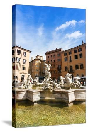 Fountain of Neptune, Piazza Navona, Rome, UNESCO World Heritage Site, Latium, Italy, Europe-Nico Tondini-Stretched Canvas Print