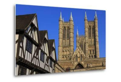 Half-Timbered Leigh-Pemberton House and Lincoln Cathedral, England-Eleanor Scriven-Metal Print