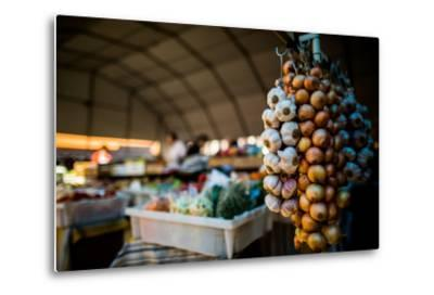 Garlic and Onions at Market, Portugal, Europe-John Alexander-Metal Print