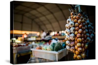 Garlic and Onions at Market, Portugal, Europe-John Alexander-Stretched Canvas Print