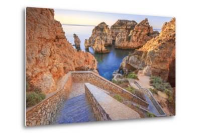 Soft Colors of Dawn on the Red Cliffs of Ponta Da Piedade, Lagos, Algarve, Portugal, Europe-Roberto Moiola-Metal Print