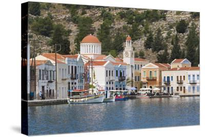 Waterfront Houses and Church, Dodecanese Islands-Ruth Tomlinson-Stretched Canvas Print