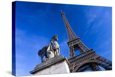 Horse Sculpture on Lena Bridge Near to Eiffel Tower in Paris, France, Europe-Peter Barritt-Stretched Canvas Print