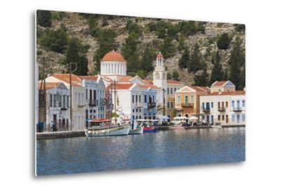 Waterfront Houses and Church, Dodecanese Islands-Ruth Tomlinson-Metal Print