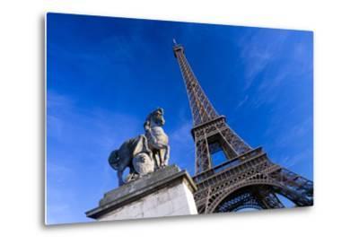 Horse Sculpture on Lena Bridge Near to Eiffel Tower in Paris, France, Europe-Peter Barritt-Metal Print