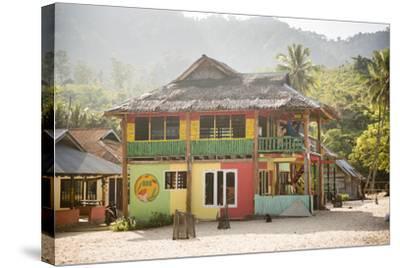 Rasta (Rastafarian) Coloured Beachfront Accommodation at Sungai Pinang, Indonesia-Matthew Williams-Ellis-Stretched Canvas Print