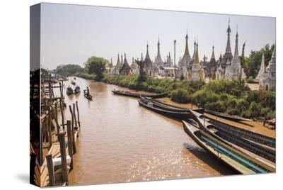 Stupas at Ywama Paya Buddhist Temple Complex, Inle Lake, Shan State, Myanmar (Burma), Asia-Matthew Williams-Ellis-Stretched Canvas Print
