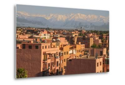 Marrakech Panorama, with Atlas Mountains in the Backgroud, Marrakesh, Morocco, North Africa, Africa-Guy Thouvenin-Metal Print