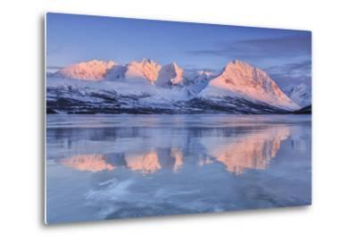 Snowy Peaks are Reflected in the Frozen Lake Jaegervatnet at Sunset, Lapland-Roberto Moiola-Metal Print
