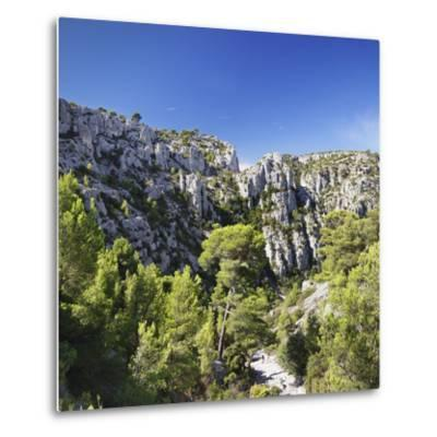 People Hiking Through Rocky Landscape of Les Calanques, Southern France-Markus Lange-Metal Print