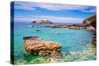 Godrevy Lighthouse, Cornwall, England, United Kingdom, Europe-Kav Dadfar-Stretched Canvas Print