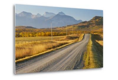 Country Road Through a Mountainous Landscape, Near Twin Butte, Alberta, Canada, North America-Miles Ertman-Metal Print