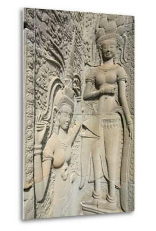 Hindu Statues on the Outer Wall of Angkor Wat, Siem Reap, Cambodia, Southeast Asia-Alex Robinson-Metal Print