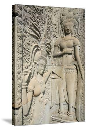 Hindu Statues on the Outer Wall of Angkor Wat, Siem Reap, Cambodia, Southeast Asia-Alex Robinson-Stretched Canvas Print