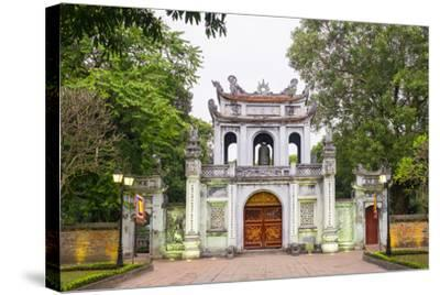 Temple of Literature Gate at Dusk, Dong Da District, Hanoi, Vietnam, Indochina, Southeast Asia-Jason Langley-Stretched Canvas Print