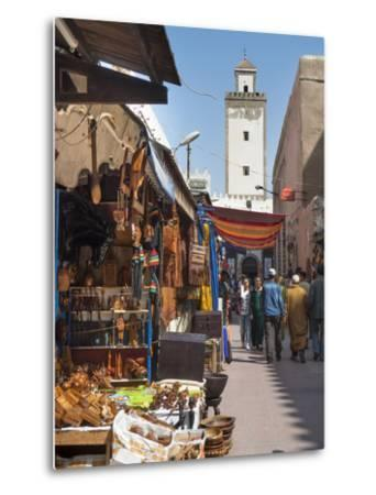 Grand Mosque and Street Scene in the Medina, Essaouira, Morocco, North Africa, Africa-Charles Bowman-Metal Print