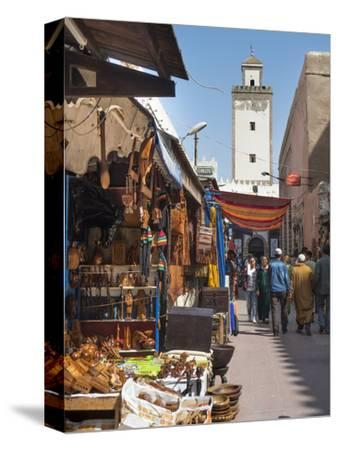Grand Mosque and Street Scene in the Medina, Essaouira, Morocco, North Africa, Africa-Charles Bowman-Stretched Canvas Print
