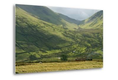 Steam Engine and Passenger Carriage on Trip Down Snowdon Mountain Railway, Gwynedd, Wales-Peter Barritt-Metal Print