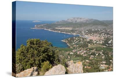 View of the Coastline and the Historic Town of Cassis from a Hilltop, France-Martin Child-Stretched Canvas Print