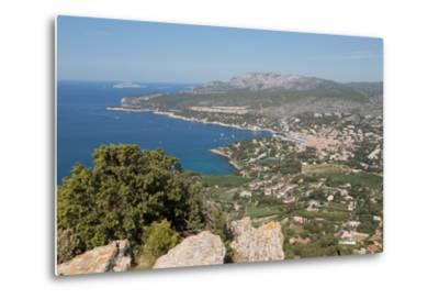 View of the Coastline and the Historic Town of Cassis from a Hilltop, France-Martin Child-Metal Print