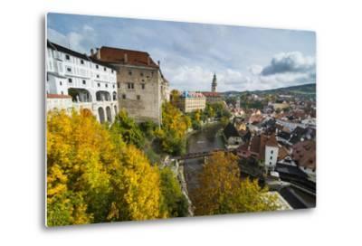View over Cesky Krumlov and the Vltava River, UNESCO World Heritage Site, Czech Republic, Europe-Michael Runkel-Metal Print